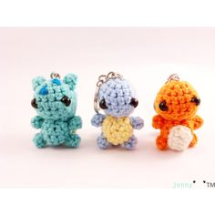 crochet keychain - Kanto starters pokemon inspired amigurumi (Made to... ($40) ❤ liked on Polyvore