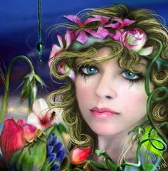 """"""" Flower Girl """" - self portrait , modified with Photo Shop , and Corel painter 11.   By Michelle Millay"""