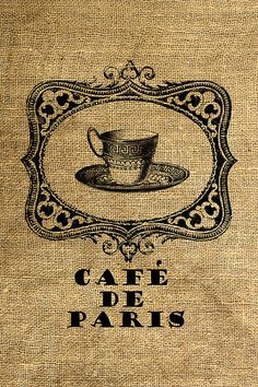 INSTANT DOWNLOAD  Cafe de Paris Coffee Cup in a Frame  by room29