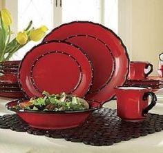 16 Piece Ruffle-Red Dinnerware Set
