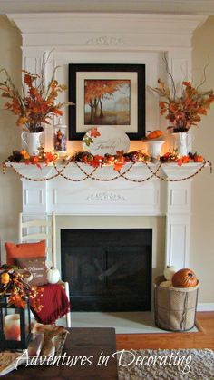 fall mantle decor Just thought I'd share a few pics of our 2012 Fall mantel. I added lots of pops of vibrant orange, along with the other traditional Fall embellishments. Fall Mantel Decorations, Thanksgiving Decorations, Seasonal Decor, Mantel Ideas, Thanksgiving Mantle, Thanksgiving Ideas, September Decorations, Mantelpiece Decor, Christmas Decor
