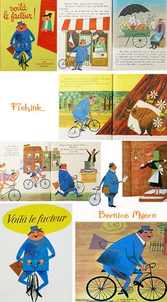 Vintage Illustrations Voilà le facteur Bernice Myers - More from the very talented Bernice Myers. This selection is mainly from the and and it's good to know that the very prolific Mrs Myers, some 60 books later, is still w… Book Cover Design, Book Design, Layout Design, Design Design, Graphic Design, Comic Layout, Illustrations And Posters, Vintage Illustrations, Book Projects