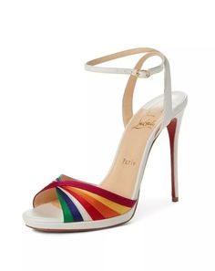 Christian Louboutin Naseeba Sandal-Christian Louboutin Naseeba Sandal Rainbow satin stripes crisscross at the toe of a vintage-chic Italian sandal fashioned with a leg-lengthening stiletto heel. Sexy Heels, Strappy Heels, Stiletto Heels, Stilettos, High Heels, Ankle Strap Heels, Ankle Straps, Cute Shoes, Me Too Shoes