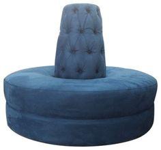 Blue Round Settee Sofa Banquette Upholstered Velvet Microfiber Circle ottoman www.celebritysofa.com