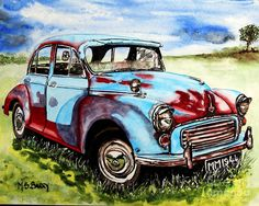 Morris Minor by Maria Barry 14x11 inches