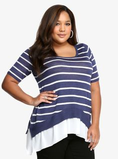 Striped Sharkbite Sweater From the Plus Size Fashion Community at www.VintageandCurvy.com