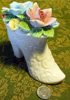Lush Vintage Miniature Porcelain and Bisque Boot  Made in Japan