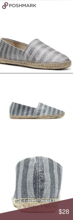 Enzo Angiolini Austyn Silver Striped Espadrille Never worn just out of the box. Excellent condition. Textile in the upper area. Easy to slip on and off. Round Toe. Espadrille bottom. Flat. Bundle 2+ items for a discount. Enzo Angiolini Shoes Espadrilles