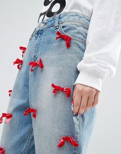 ASOS | WAH LONDON x ASOS Boyfriend Jeans With Velvet Bows