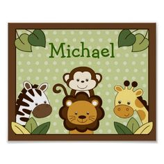 Shop Safari Jungle Animal Nursery Wall Art Print created by little_prints. Nursery Wall Decals, Nursery Art, Nursery Decor, Safari Nursery, Animal Nursery, Themed Nursery, Wall Art Prints, Poster Prints, Baby Name Signs