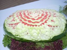 Watermelon art at Aquis Silva Beach Watermelon Art, Error Page, Greek Recipes, Carving, Fruit, Beach, Food, The Beach, Wood Carvings
