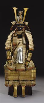 Armor for a Daimyo of the Tokugawa Shogun family. White-laced gold-lacquered nimai-do gusoku,  Edo period (18th century)