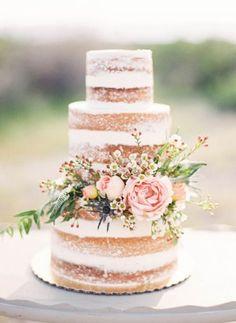 Breathtaking three tier blush wedding cake; Featured Photographer: Mallory Renee Photography