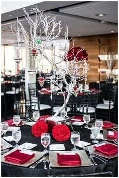 30 Red And Black Wedding Decor Ideas Weddingomania Black And Red Wedding - Kylaza Nardi Red Wedding Receptions, Red Wedding Decorations, Reception Decorations, Wedding Themes, Wedding Centerpieces, Wedding Colors, Table Decorations, Wedding Ideas, Reception Ideas