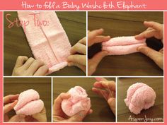 Great tutorial on how to fold a baby wash cloth elephant. This is easy to understand.