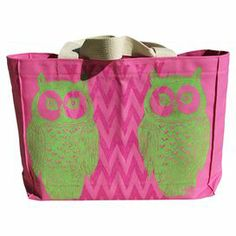 "Pack for an afternoon on the town, your morning tennis match, or a weekend trip with this preppy canvas bag, showcasing a chic owl motif and chevron detail.   Product: ToteConstruction Material: Cotton canvasColor: Pink and green Features:  Owl motifChevron detailsDimensions: 11"" H x 15"" W x 4"" D"
