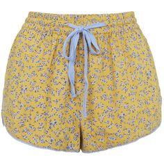 TOPSHOP Ditsy Floral Print Pajama Shorts ($26) ❤ liked on Polyvore featuring intimates, sleepwear, pajamas, shorts, bottoms, pants, mustard, topshop pjs, topshop sleepwear and topshop pyjamas