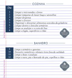 Organize sem Frescuras | Rafaela Oliveira » Arquivos » Roteiro mensal da faxina para imprimir