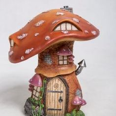 Vivid Arts resin ornaments can be indoor/outdoor. U/V stable and frost resistant! H Comes in a nice pink box ideal for gifts Clay Fairy House, Fairy Garden Houses, Fairy Gardens, Fairy Village, Mushroom House, Clay Fairies, Burnt Orange Color, Garden Decor Items, Wishing Well
