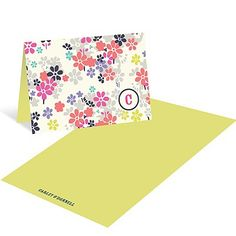 Monogram Blossoms - Floral Thank You Card