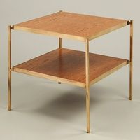 Vaughan's Eccleston Table with Oak in Brass, 2 Tier