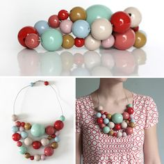 necklace by Kristina Klarin, wooden beads.....love the colors