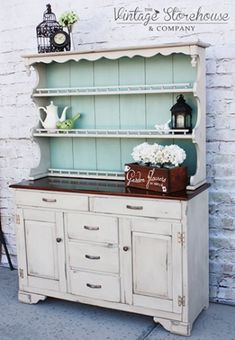 Materials Used to Create this Look: Blue Minerals Chalk & Mineral Paint Powder Behr Paint (Benjamin Refurbished Furniture, Paint Furniture, Repurposed Furniture, Furniture Projects, Furniture Makeover, Furniture Refinishing, Vintage Furniture, Distressed Hutch, Distressed Furniture