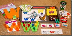 Letter W bins Letter W Activities, Learning Activities, Letter Of The Week, Homeschool Kindergarten, Teaching Language Arts, Cool Lettering, Learning Letters, Tot School, Alphabet