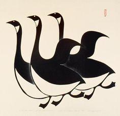 Innukjuakju Pudlat, Three Canada Geese, 1960