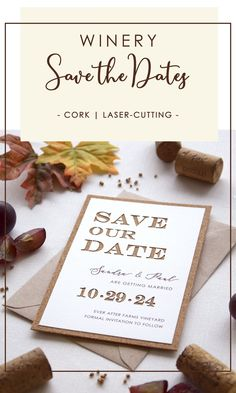 Build the anticipation further by sending your Save the Date to your guests and giving them a sneak peek of your wedding theme.This Save the Date is inspired by winery weddings, offering a vintage feel and rustic beauty, perfect for a couple who favors casual, yet class and elegance. #corkweddingsavethedates #rusticweddingsavethedates #countryweddingsavethedates Rustic Wedding Stationery, Laser Cut Wedding Invitations, Destination Wedding Invitations, Cork Wedding, Wedding Table, Laser Cut Save The Dates, Rustic Wedding Save The Dates, Cream Wedding, Engagement Couple