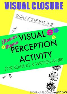 Fun visual closure activity for kids! This great flower themed visual perception game was designed by an Occupational Therapist to help improve skills needed for reading, writing and math. Visual Motor Activities, Visual Perceptual Activities, Learning Activities, Vocabulary Activities, Occupational Therapy Activities, Occupational Therapist, Best Eczema Treatment, Eye Sight Improvement, Vision Therapy