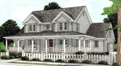Country Farmhouse House Plan 68178
