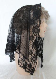 The Elizabeth Style PREMIUM Black Lace Mantilla Chapel Veil from www.headcoverings.etsy.com  $30.00