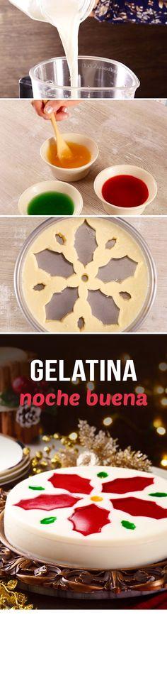 Receta fácil de gelatina de leche en forma de flor de Nochebuena roja para sorprender a tus invitados en Navidad y Año Nuevo. Utiliza tus cortadores de galletas y haz la forma que quieras.