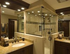 another sample of how to have the shower but up against the vanity area with a half wall/glass combo