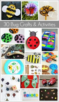 30 Insect and Bug Crafts and Learning Activities for Kids including ladybug crafts, bee crafts, life cycle projects and more!
