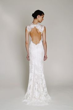 New to the Wedding Suite: Bliss Monique Lhuillier. Style BL1330, chantilly lace v-neck sheath with signature open back and front slit Open Back Wedding Dress, Dream Wedding Dresses, Wedding Suits, Wedding Gowns, Modest Wedding, Chic Wedding, Trendy Wedding, Wedding Bride, Wedding Table