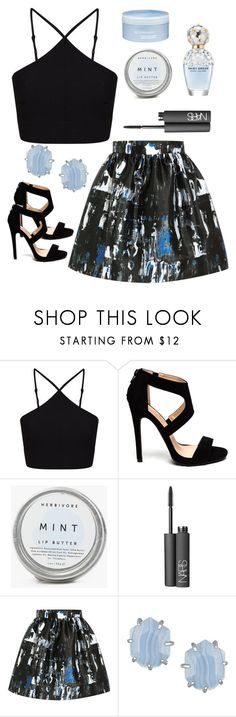 """""""//blue\\"""" by edenerickson ❤ liked on Polyvore featuring Miss Selfridge, Marc Jacobs, NARS Cosmetics, McQ by Alexander McQueen, Kendra Scott and Aveda"""
