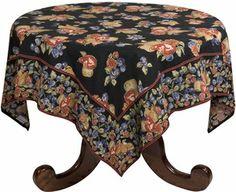 "April Cornell Fall Fruit Black 90"" Tablecloth 4210 510"