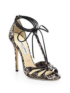 Jimmy Choo - Motive Snakeskin  Leather Tie-Up Sandals