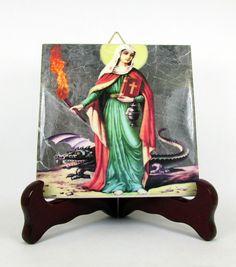 St Martha #Catholic #icon on ceramic tile https://www.etsy.com/it/listing/242141702/saint-martha-of-bethany-catholic-icon-on