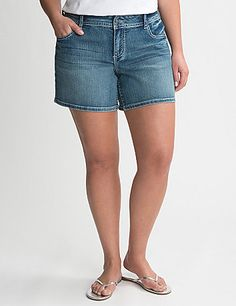 Medium sandblast denim shorts are made for fun in the sun with sequin-embellished pockets for a touch of glam. Your go-to jean shorts are made to flatter with a hint of curve-hugging stretch and timeless details like contrast stitching, five pockets and rivets. Button & zip fly closure and belt loops complete the look. lanebryant.com