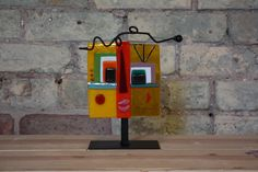 """Fused Glass Face- Yellow 5x5"""" Glass Animals, Fused Glass, Wind Chimes, Glass Art, My Arts, Faces, Artists, Rugs, Abstract"""