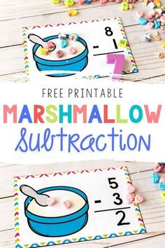 Get your kids excited about math with these Free Printable Marshmallow Subtraction Problems from Life Over C's for Kindergarten! There's no better way to get them excited about subtraction than with disappearing marshmallows! Grab these teaching resources!