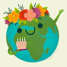 Melanie Demmer (@melaniedemmer) • Instagram photos and videos Happy Earth, Children's Book Illustration, Earth Day, 5th Birthday, Illustrators, Art Projects, Greeting Cards, Photo And Video, Christmas Ornaments