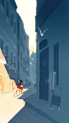Illustrations: Pascal Campion / Morning ride by *PascalCampion Pascal Campion, Bicycle Art, Illustrations Posters, Illustrators, Concept Art, Cool Art, Art Photography, Illustration Art, Bicycle Illustration