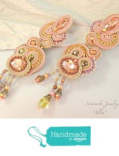 Statement Long Stud Sparkly Soutache Earring, Peach Blush Pink Gold Copper Earring, Soutache Earring Blush Pink Rose Gold Crystal Bridesmaid https://www.amazon.com/dp/B071FK4F15/ref=hnd_sw_r_pi_dp_nQdkzb2ESPRV7 #handmadeatamazon