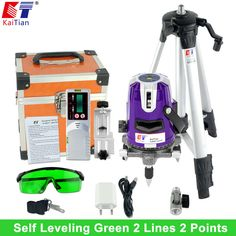 KaiTian Green light 2 Lines Laser Level Outdoor 360 Rotary Self Leveling  Laser Beam Slash Function EU with Tripod and Detector #Affiliate