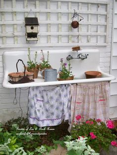 Take 5 Vintage Cottage Chic Upcycled Potting Benches for your Garden - The Cottage Market