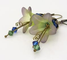 Blue and green earrings Lucite flower earrings Dark by WickedRuby, $22.00